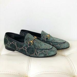 Gucci Blue Horsebit Velvet Monogram Loafers Flats